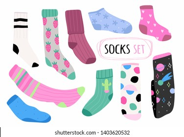 Various bright socks with different prints. High and low socks. Hand drawn vector set. Colored trendy fashion illustration. Flat design. All elements are isolated