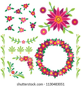 Various brightly colored floral elements, including borders, flourishes, and a wreath