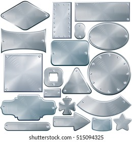 Various Brushed Metal Plates, Metal Signboard, Metal Sign with Rivets. Isolated Vector Icons