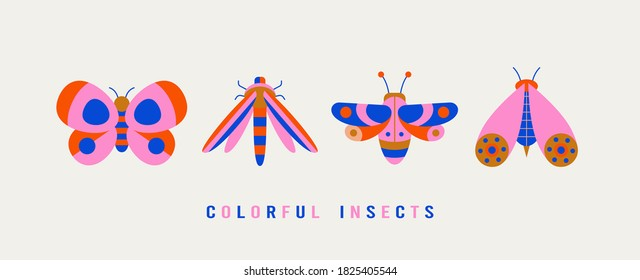 Various Bugs, Butterflies, Moth. Different insects. Minimalistic scandinavian colorful Icons. Simple flat geometric design. Trendy bright Vector illustrations for kids. All elements are isolated