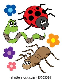 Various bugs collection - vector illustration.