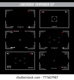Various camera screens with white frame, figures and battery symbol. Camcorder viewfinder set on black background. Vector illustration for your graphic design.