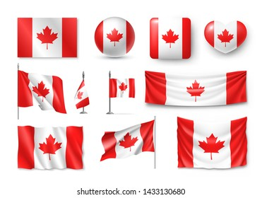 Various Canada flags set isolated on white background. Realistic waving national flag on pole, table flag and different shapes badges. Patriotic canadian 3d rendering symbols vector illustration.