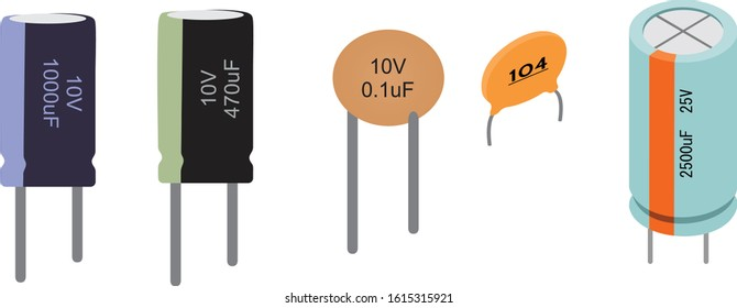 VARIOUS CAPACITOR  TOP VIEW ILLUSTRATION