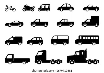 Various car type sets and black vector icon set isolated on white background.