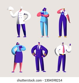 Various Career Worker Set for Labor Day Holiday Banner. People Group in Different Uniform. Chef, Pilot and Doctor Work in Business Job Occupation. Engineer Character Flat Cartoon Vector Illustration