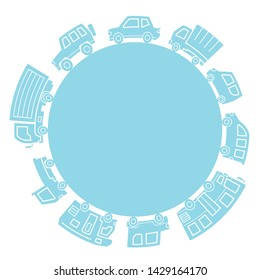 various cars of silhouette circle - light blue -