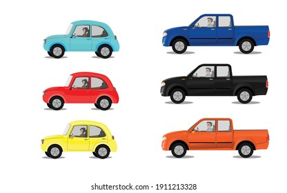 Various Cars Vector. Various Cars Vector. sedan, pick up truck. They can be useful for any design project related to automotive. Women and men driving.
