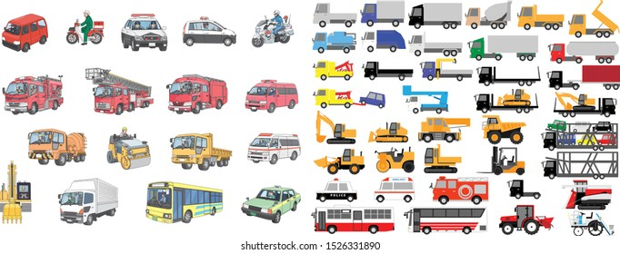 Various cars and vehicles including trucks, heavy equipment, emergency vehicles, etc