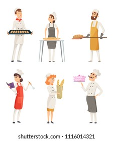 Various cartoon characters bakers at work. Character baker with food in uniform, vector illlustration