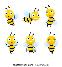 Various cartoon characters of bees with honey. Bee cartoon insect, character happy fly illustration