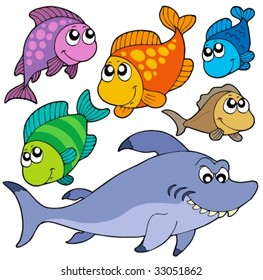 Various cartoon fishes collection - vector illustration.