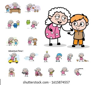 Various Cartoon Old Granny Character - Set of Concepts Vector illustrations
