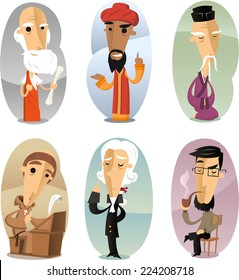 Various cartoon Philosophers through ages vector illustration