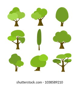 Various Cartoon Style Isolated Tree Plant Illustration Assets