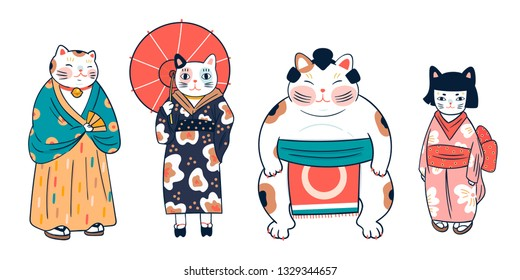 Various cats dressed in traditional japanese clothes. Anthropomorphic animals. Kawaii illustration. Hand drawn colored vector set. All elements are isolated