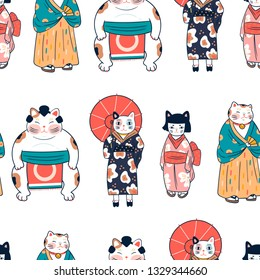 Various cats dressed in traditional japanese clothes. Anthropomorphic animals. Kawaii illustration. Hand drawn colored vector seamless pattern