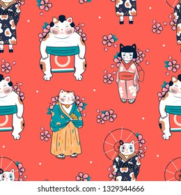 Various cats dressed in traditional japanese clothes with sakura flowers. Anthropomorphic animals. Kawaii illustration. Hand drawn colored vector seamless pattern. Red background