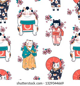 Various cats dressed in traditional japanese clothes with sakura flowers. Anthropomorphic animals. Kawaii illustration. Hand drawn colored vector seamless pattern