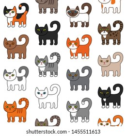 Various cats seamless pattern. Cute and funny cartoon kitty cat vector illustration different cat breeds. Pet kittens of different colours. Simple modern geometric flat style vector illustration.