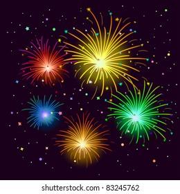 Various celebratory firework against the black sky, vector