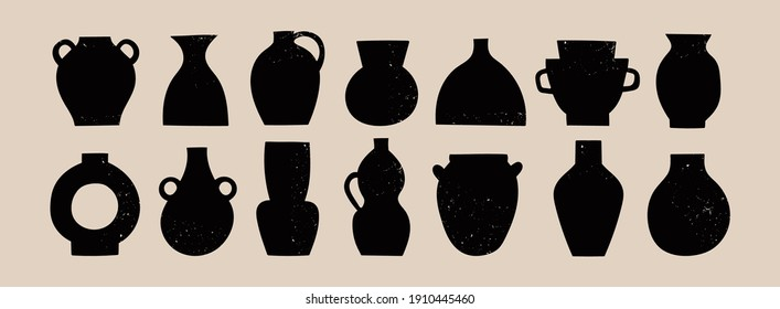 Various ceramic Vases. Different shapes. Black silhouettes. Antique, ancient ceramics. Pottery concept. Stamp texture. Hand drawn Vector set. Trendy illustration. All elements are isolated