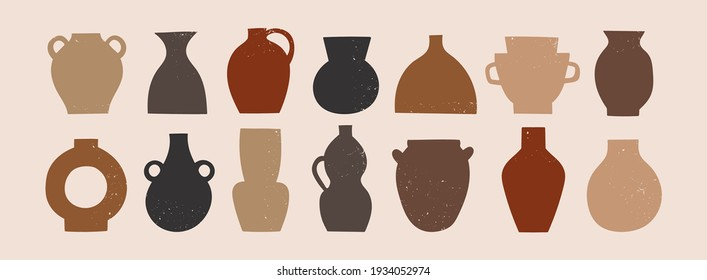 Various ceramic Vases. Different shapes. Colored silhouettes. Antique, ancient ceramics. Pottery concept. Stamp texture. Hand drawn Vector set. Trendy illustration. All elements are isolated