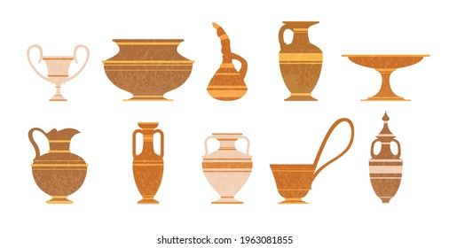 Various ceramic vases vector illustration set. Ancient greek pottery amphorae. Collection of clay pots silhouettes, old jugs and amphoras - isolated icons on white background. Archaeological finds.