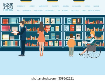 Various character of people in Bookstore or library with bookshelves, adult and teenager, business people and wheel chair of disabled woman, vector illustration.