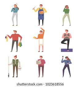 Various characters about hobbies. vector illustration flat design