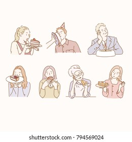 Various characters eating cake. hand drawn style vector doodle design illustrations.