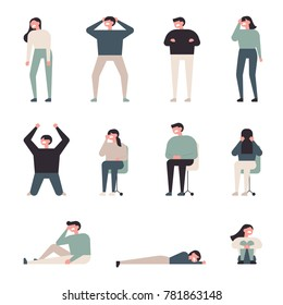 Various characters express frustrated feelings vector illustration flat design
