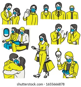Various characters of people wearing surgical masks, covering mouth, to prevent respiratory virus transmission, Coronavirus outbreak and dust. Outline, thin line art, hand drawn sketch design.