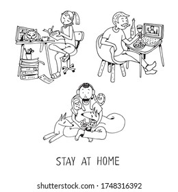 Various characters and pets resting and working from home. Collection of cute funny men and women spending time with their domestic animals. Hand drawn cartoon colorful vector illustration.