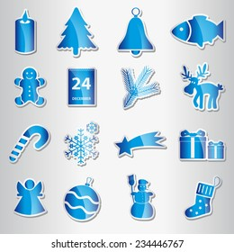 various christmas blue shiny stickers collection eps10