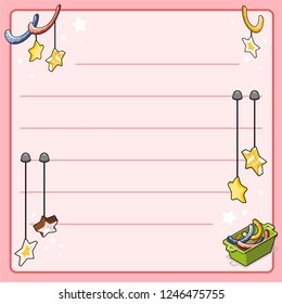 Various christmas decoration with hanging stars and garlands (template, framed and lined for your own text)