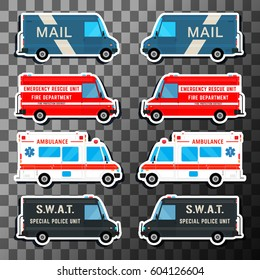Various city urban traffic vehicles - mail delivery, fire department, police swat bus and ambulance truck. Set of service vans. Vector illustration
