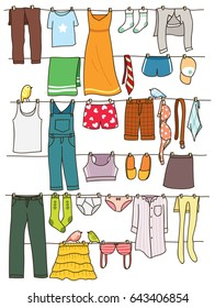 Various clothes drying on washing line