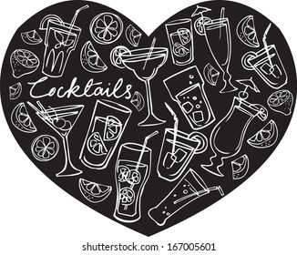 Various cocktails arranged in heart shape background vector