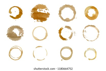Various coffee cup stains. Vector.