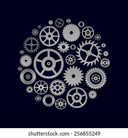 various cogwheels parts of watch movement in circle eps10