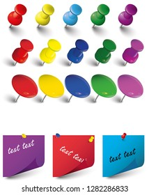various Collection of colored push pins , various types