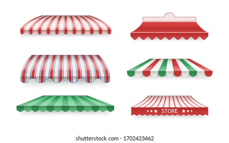 Various color awnings for shops, cafes, hotels, street restaurants. Sunshade for store. Mockup of open striped awnings for outlets and shop windows, marketplace tent roofs canopy. Vector illustration.