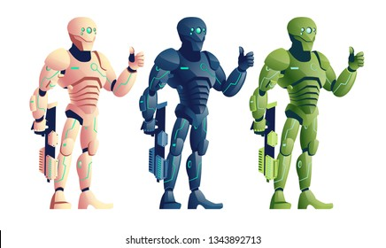 Various color, future cyborg warriors, soldiers in futuristic armor