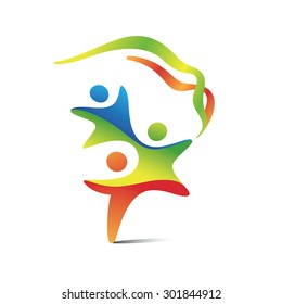 Various colored children, united in a one harmonious symbol. Olympic sports logo. Youth games icon.