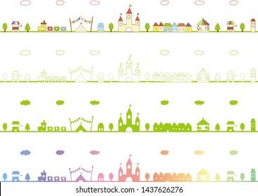 various colored set of amusement park scenery