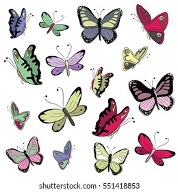 Various colorful butterflies. Vector illustration on white background