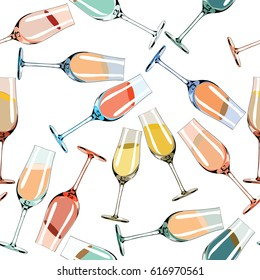 Various  colorful glasses with liquids. Seamless pattern. Vector illustration on white background