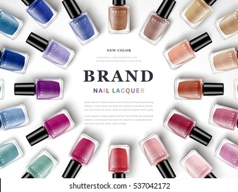 various colors of nail lacquers contained in transparent bottles arranged in radial shape, white background 3d illustration