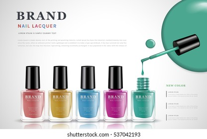 various colors of nail lacquers, contained in transparent bottles on white background, 3d illustration